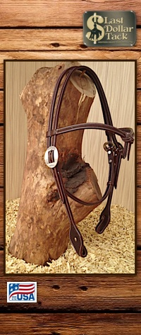 Futurity Chocolate Brown Grain & Baby Basket Tooled Headstall