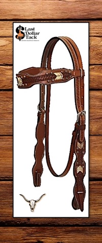 Navajo Design Headstall with Natural Rawhide & Sunburst Dot Accents