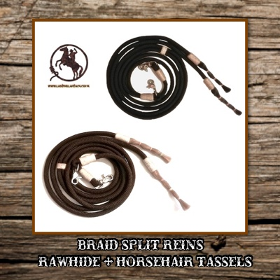 Braid Split Reins with Rawhide & Horsehair Tassels