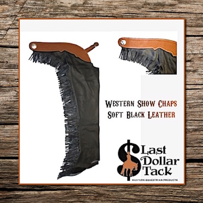 Show Riding Chaps Black Soft Leather With Fringes