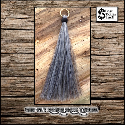 Shu-Fly Horse Hair Tassel 12'Long - Salt & Pepper