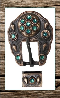 Dark Bronze Copper & Teal Crystals Replacement Buckle Set