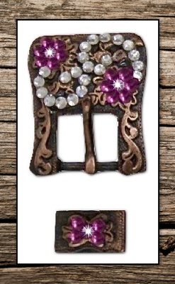 Antiqued Vintage Copper & Pink Crystal Replacement Headstall Buckle Set