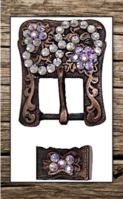 Antiqued Vintage Copper & Rainbow Crystals Headstall Replacement Buckle Set