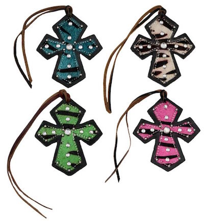 Tie-On Saddle Cross Zebra With Rhinestones