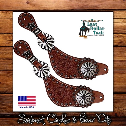 Ladies Floral Tooled Spur Straps Sunburst Conchos