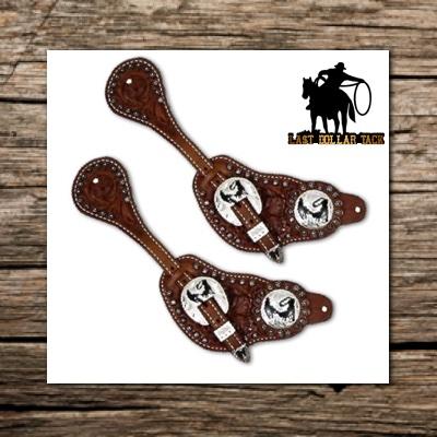 Oak Leaf Tooled Leather Men's Spur Straps with Roper Conchos