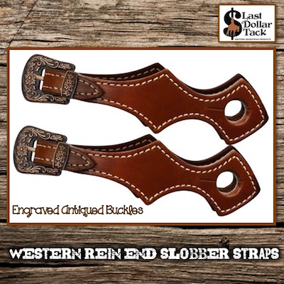 Western Rein Ends Med Oil Leather with Antiqued Buckles