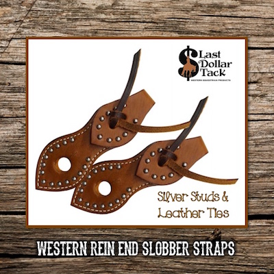 Western Rein End Slobber Straps  Silver Studs & Ties
