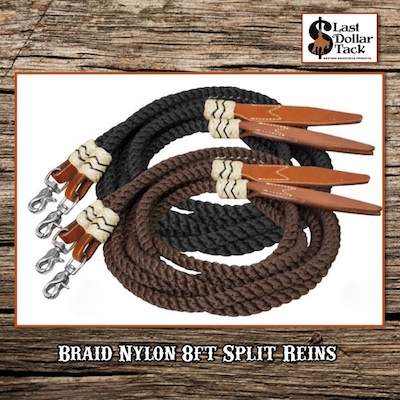 Braided Rolled Nylon 8ft Split Reins Rawhide Accents & Leather Poppers