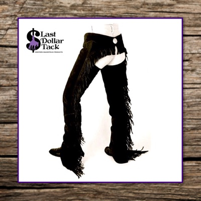 Suede Show Riding Chaps with Fringes Black XS