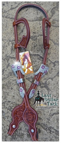 Wicket & Craig Superior Leather Tooled Custom Double Ear Headstall