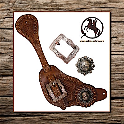 Vintage Style Praying Cowboy Concho Men's Hand Tooled Spur Straps