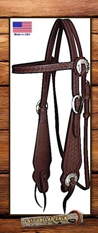 Basketweave Tooled Dark Chocolate Leather Headstall & Reins