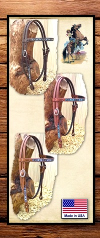 Headstall with Turquoise Handset Beads & Baby Corn Tooling