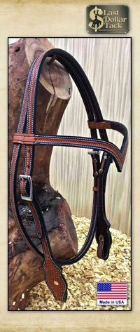 High Quality Basket Tooled 'V' Contoured Brow Headstall