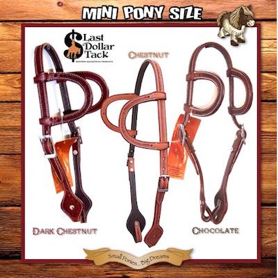 Small Mini Pony Western Headstall 2 Ear Premium Tooled Leather