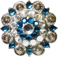 Silver Berry Blue & White Crystal Concho