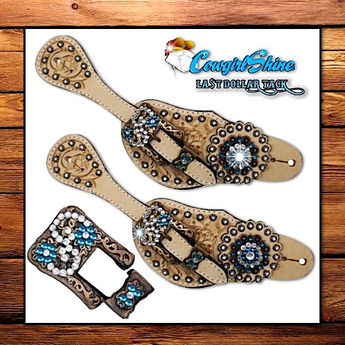 Vintage Style Lt Oil Oakleaf Tooled Crystal Accented Ladies Spur Straps