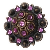 Replacement Concho Antiqued Copper & Pink Crystal Rhinestones