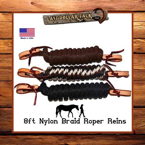 Closed Roper Style Western Reins with Leather Waterloops