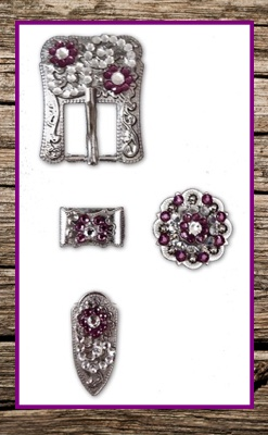 Hand Engraved Silver & Amethyst Complete Buckle Replacement Set
