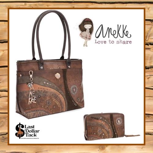 New! Anekke Nature Large Handbag + Wallet Set