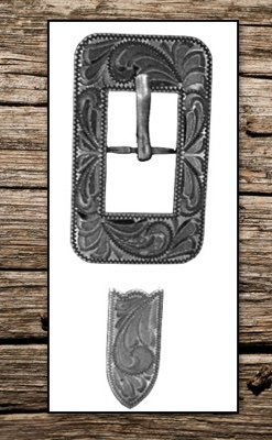 Hand Engraved Antiqued Dark Silver Grey Replacement Buckle Set