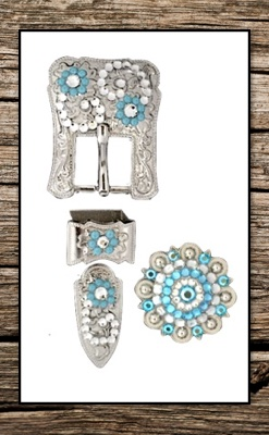 Hand Engraved Silver & Baby Blue Crystal Complete Buckle Replacement Set