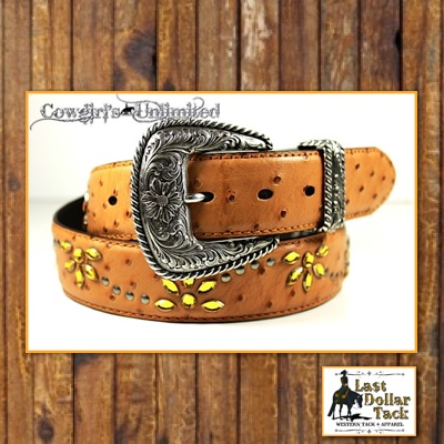 Ariat Ladies Leather Star Belt with Amber Crystals