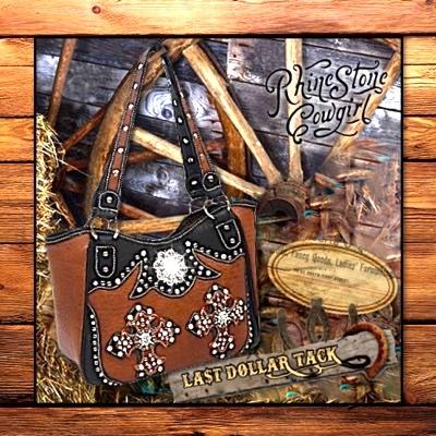 Dark Cognac & Black Handbag with Cowboy Crystal Crosses