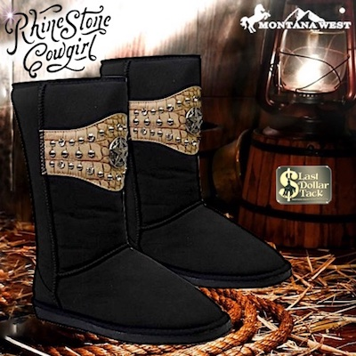Western Design Plush Black Boots