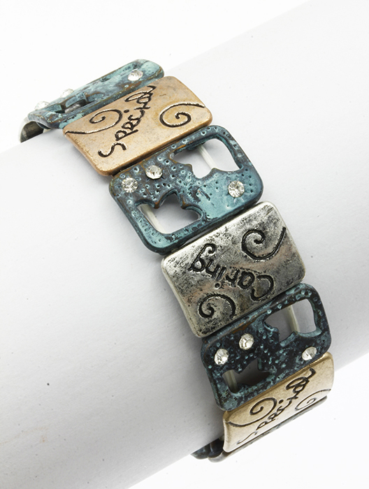 Kindness & Caring Sentiment Message Bracelet Battered Aged Finish