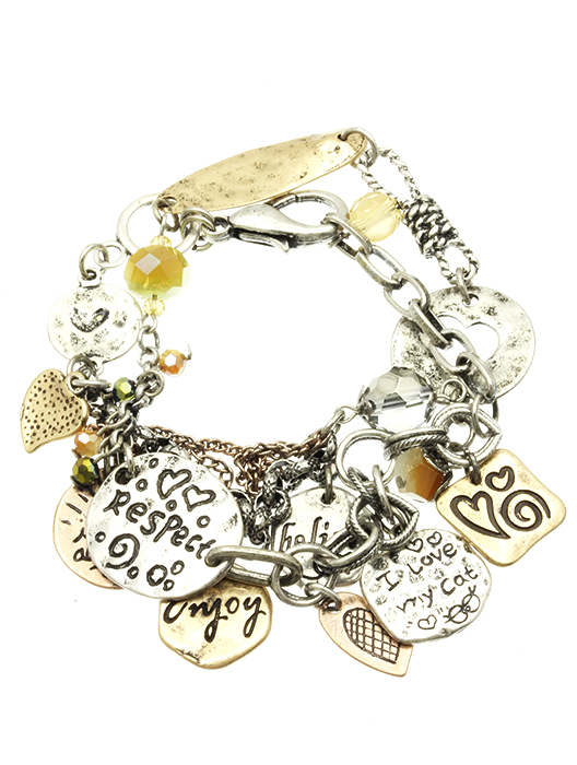 Sentiment Message Charm Bracelet