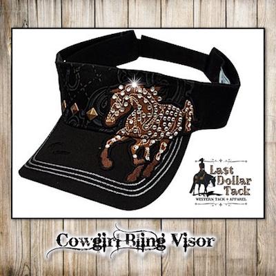 Cowgirl Black Bling Visor Mustang Crystal Embellishments