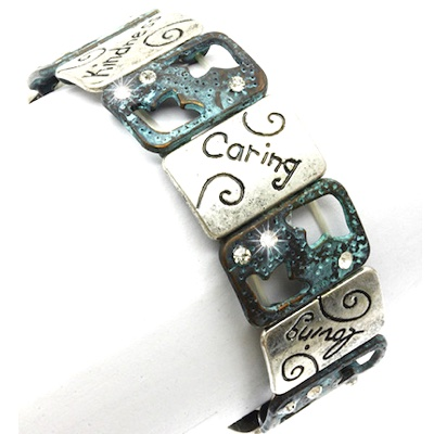 Kindness & Caring Sentiment Message Bracelet