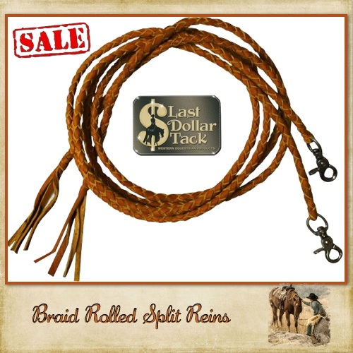 Braid Split Reins Russet Leather