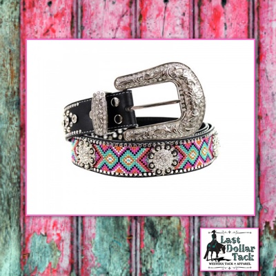 Montana West Aztec Design Leather Belt with Crystals