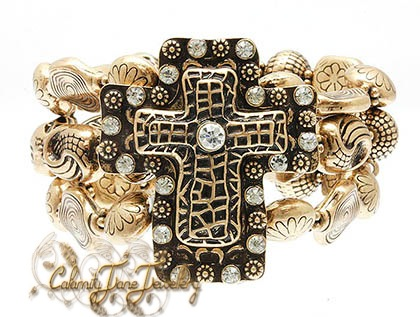 Cowgirl Gypsy Vintage Bronze Cross & Crystal Accent