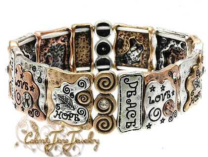 Burnished Hammered Tri-Tone Inspired Message Bracelet Vintage Style
