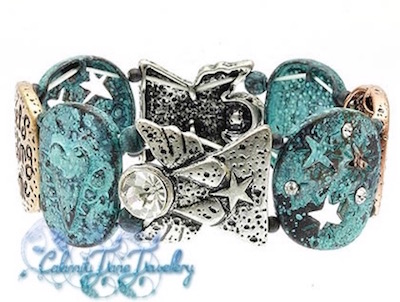 Angels Watching Over Me Turquoise Burnish Bracelet