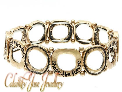 'Shape The Future' Hammered Burnished Message Bracelet