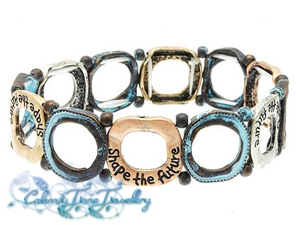 'Shape The Future' Message Bracelet Hammered & Burnished
