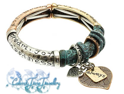 Heart Charms Friendship Message Bracelet Burnish Antiqued Style