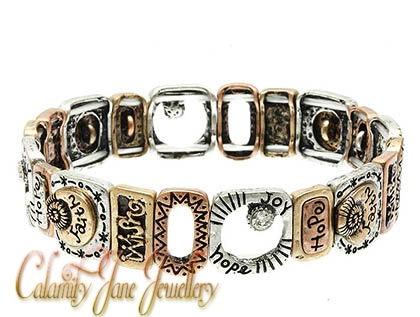 Sentiment Message Bracelet Tri-Tone Hammered with Crystal Accents