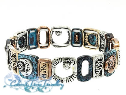 Sentiment Bracelet Burnished Bronze & Teal with Crystal Accents