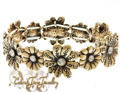 Burnished Flower & Crystal Inspired Message Bracelet Vintage Style