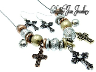 Cowgirl Gypsy Bead & Dangle Cross Charm Necklace & Earrings Set