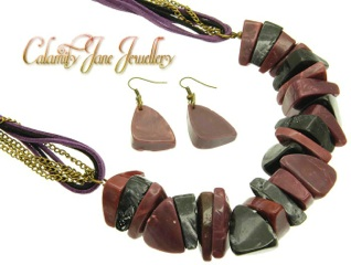 Large Chunky Natural Lucite Gemstone Necklace & Earring Set