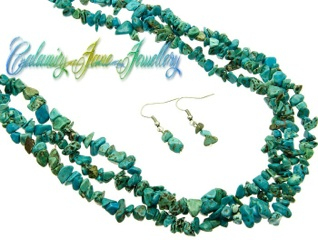 Sumptuous Natural Turquoise Stone wrap around Necklace & Earrings